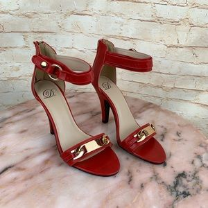 Shoes - Red ankle strap heeled sandal